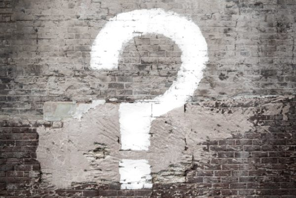 Question mark on the wall